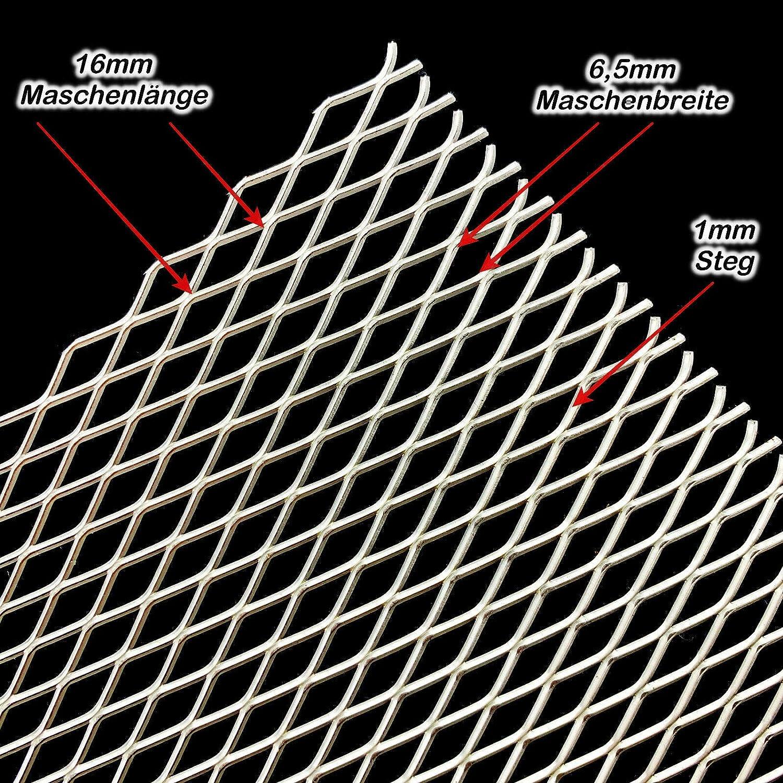 Streckgitter Edelstahl 16mmx6,5mmx1mmx1mm Flachgewalzt 6mmx3,4mmx1mmx0,5mm 500 mm x 100 mm, Edelstahl 16x6,5x1x1