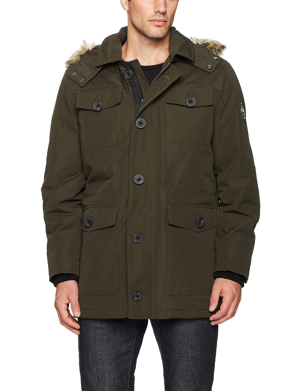 Olive HFX Mens Four Pocket Field Jacket with Removable Faux Fur Hood Varsity Jacket