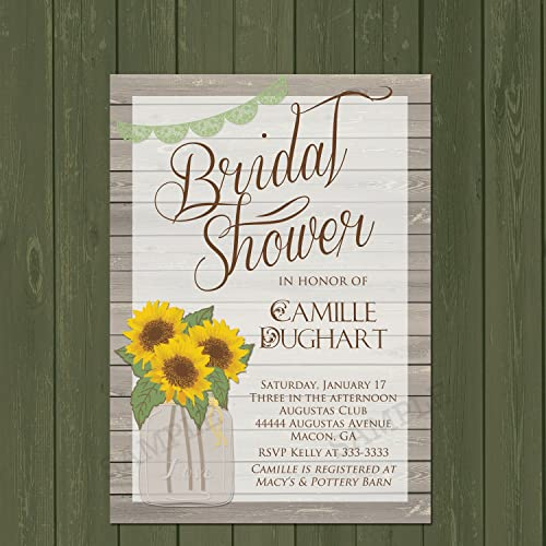 Amazon sunflower invitation rustic sunflower bridal shower sunflower invitation rustic sunflower bridal shower invitation mason jar shower invite filmwisefo Images