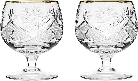 Set of 2 Hand Made Vintage Crystal Glasses
