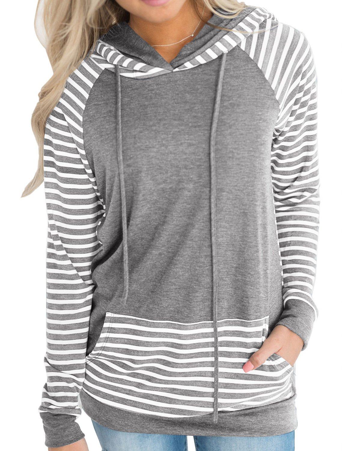 Naier Womens Hooded Sweatshirt Pullover Hoodie Long Sleeve Sweaters Striped Teen Tops Gray XL