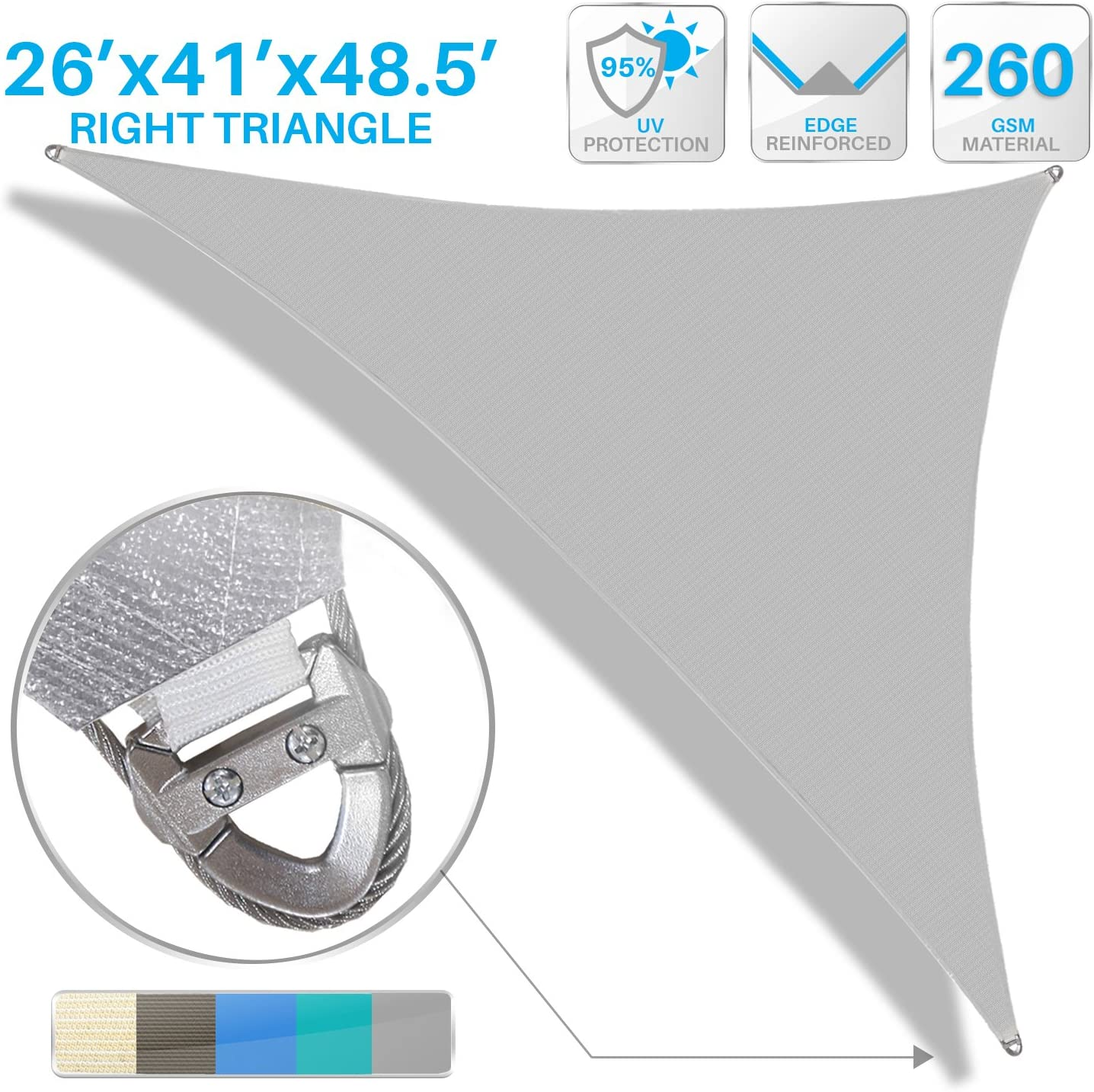 Patio Large Sun Shade Sail 26\' x 41\' x 49\' Right Triangle Heavy Duty Strengthen Durable Outdoor Canopy UV Block Fabric A-Ring Design Metal Spring Reinforcement 7 Year Warranty -Light Gray 81MgdAedIXL