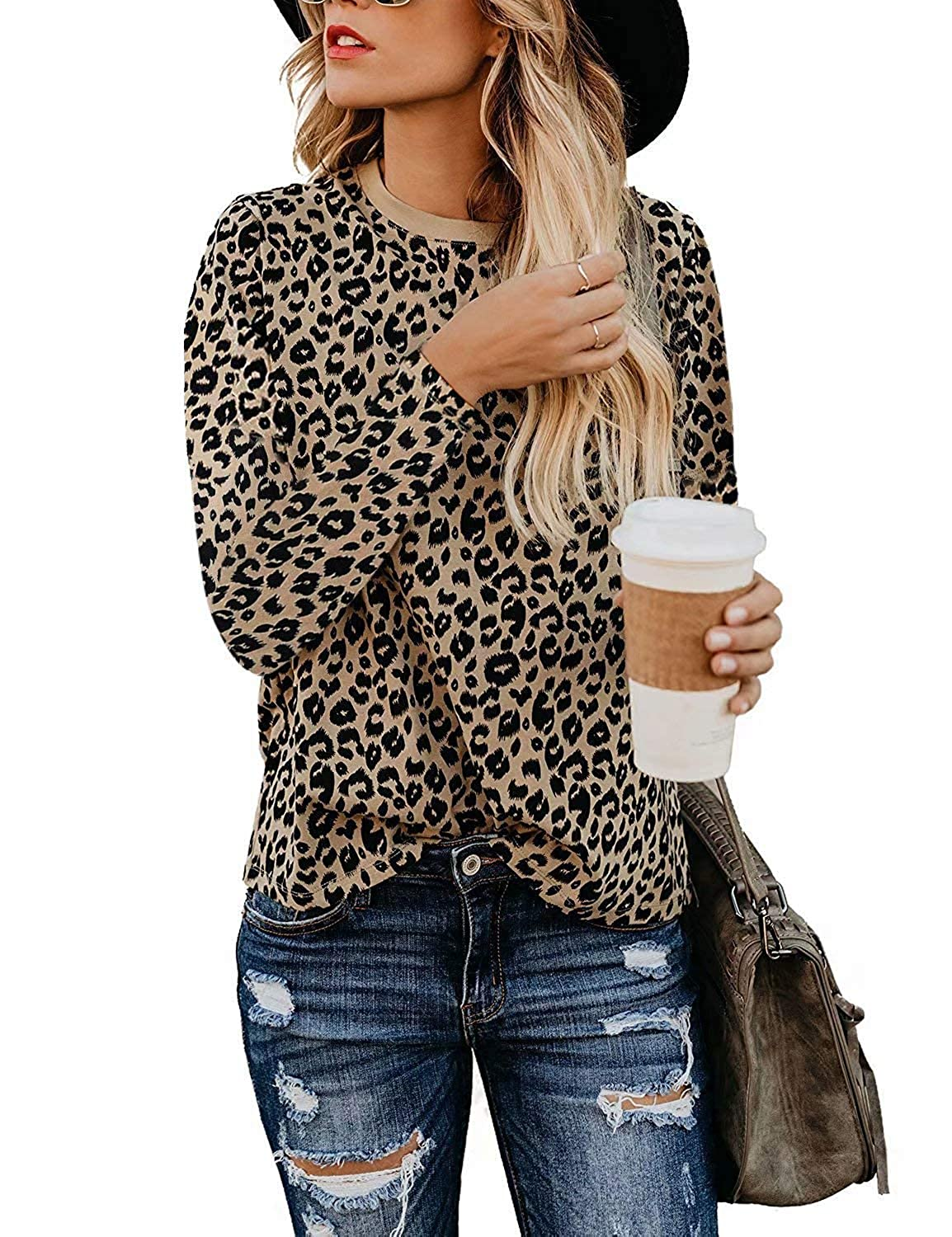 Youdiao Women/'s Casual V Neck Leopard Print Tops Summer Cute Shirts Basic Short Sleeve Tees Blouse