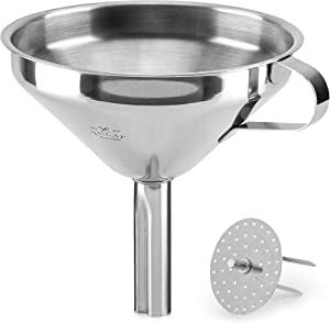 Zulay (5 inch) Stainless Steel Kitchen Funnel - Food Grade Metal Funnel With Removable Filter - Rustproof Stainless Steel Funnel For Filtering or Transferring Liquids & Dry Ingredients