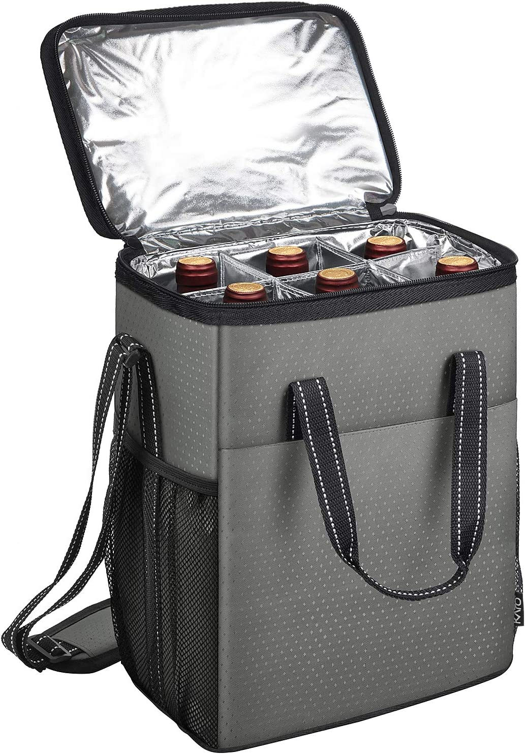 6 Bottle Wine Carrier - Insulated & Padded Wine Carrying Cooler Tote Bag for Travel, Camping and Picnic, Ideal Wine Lover Gift, Star Dot Pattern, Grey