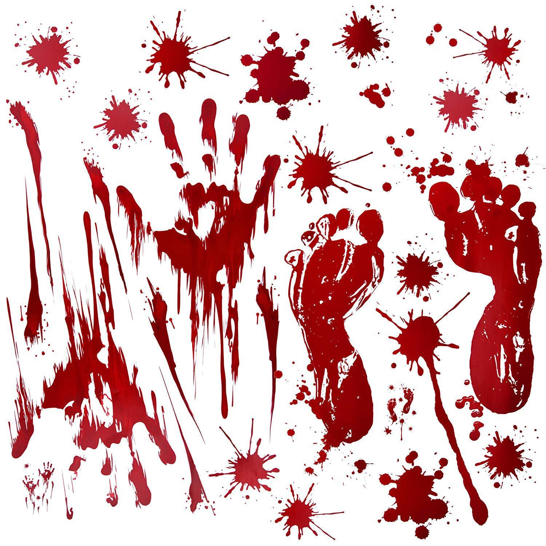Fantech 86PCS Halloween Party Indoor Decorations , Halloween Window Stickers Clings Decals Horror Bloody Handprints&Footprints Stickers Halloween Decor Vampire Zombie & Horror Bathroom Party Decorat Aidisen