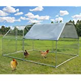 Large Metal Chicken Coop Walk-in Poultry Cage Hen Run House Rabbits Habitat Cage Flat Roofed Cage with Waterproof and…