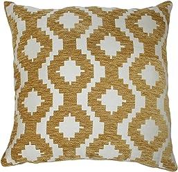 "McAlister Arizona Plush Textured Chenille Plump Filled 16"" Throw Pillow Couch | Yellow White 16x16 Decor Toss Cushion | Geometric Quatrefoil Woven Linen | Modern Aztec Moroccan Accent"