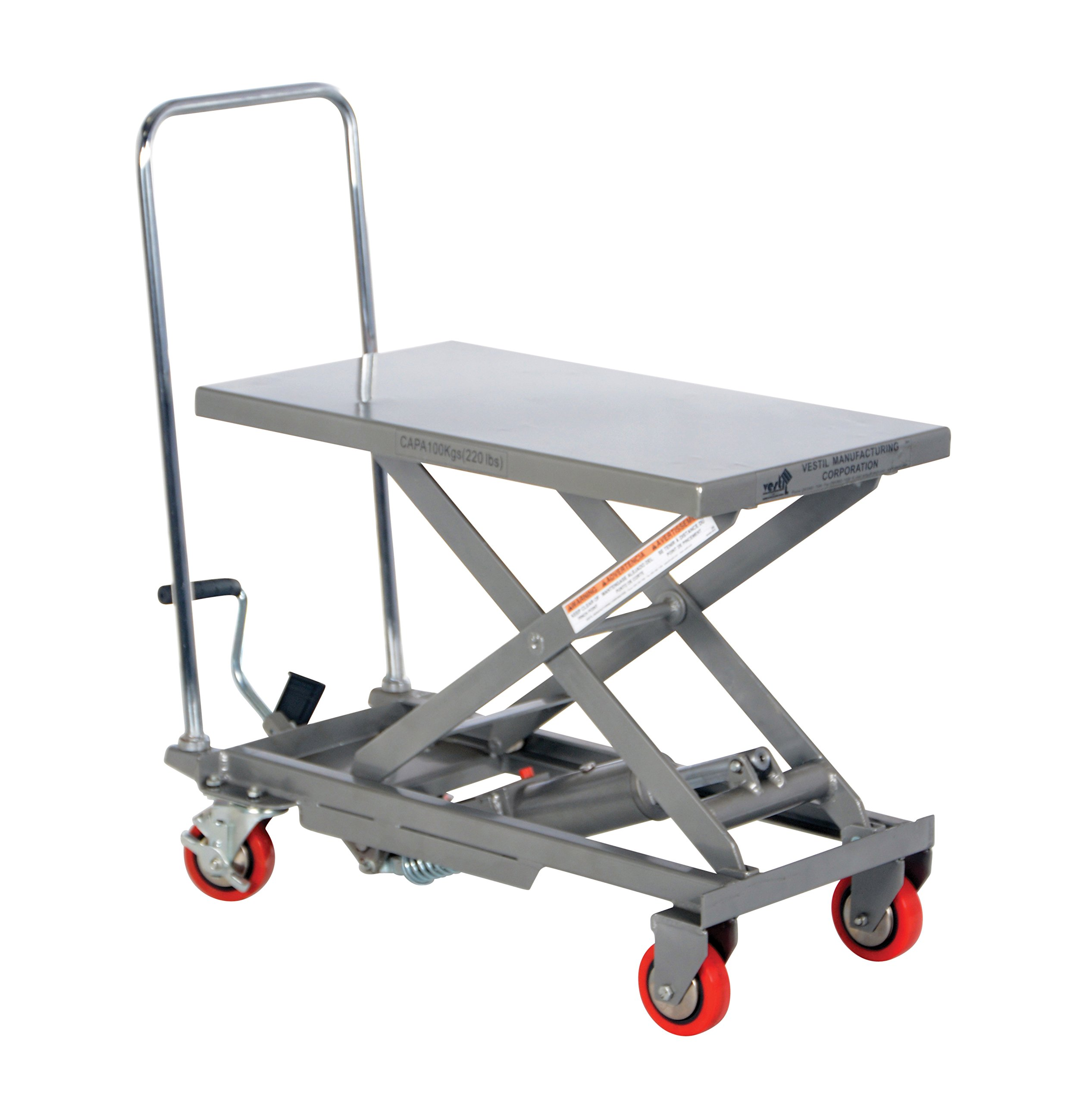 Vestil CART-200-ALUM Aluminum Elevating Cart, 220 lb. Capacity, 15.75'' x 27''