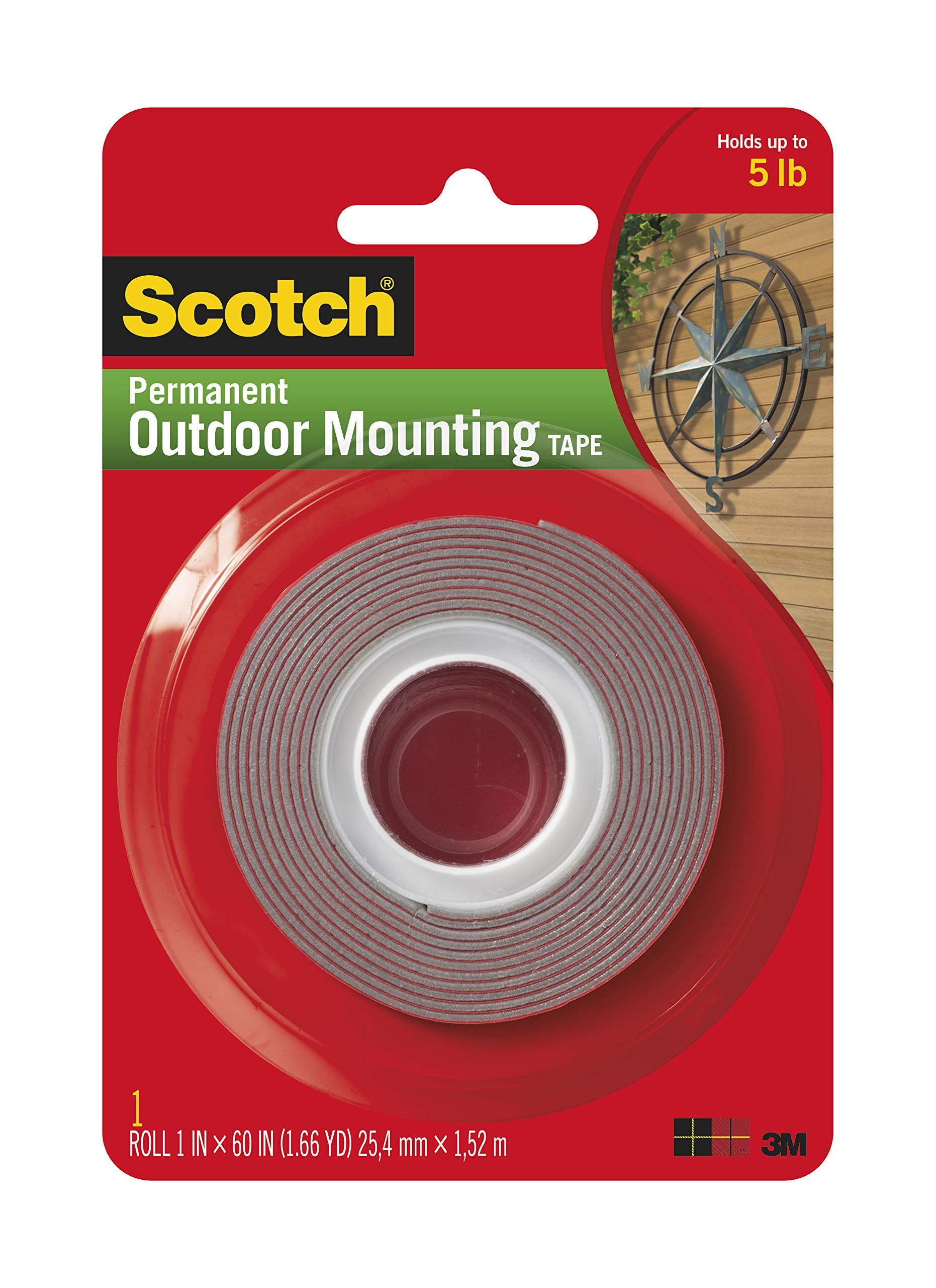 Scotch Outdoor Mounting Tape, 1 x 60'', Gray, 24 per Case by Scotch Brand