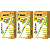 BIC BL241-YEL Brite Liner Highlighter, Chisel Tip, Yellow, 24-Count - 3 Pack
