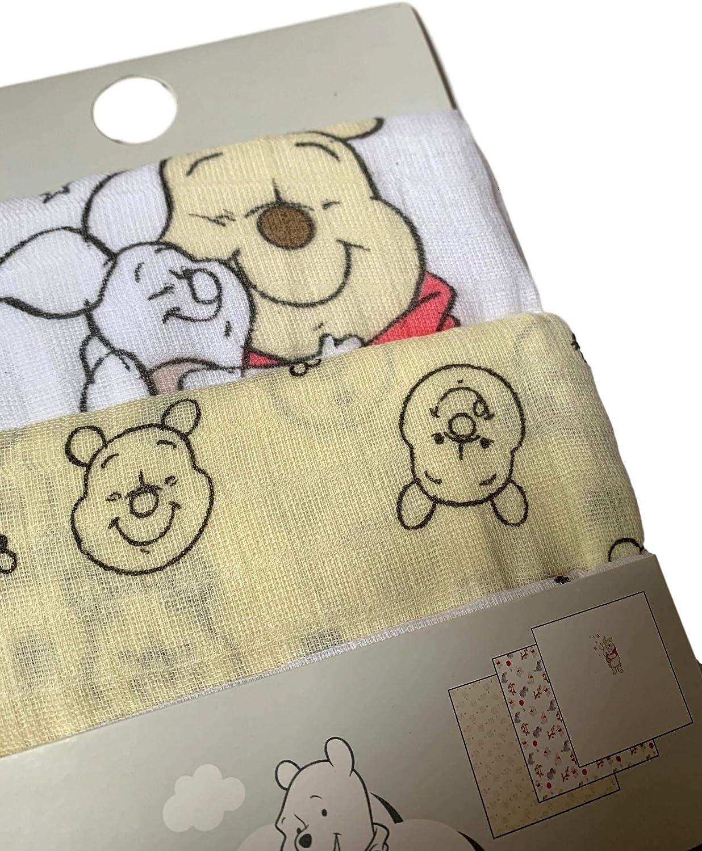 Primark Limited Official Licensed Disney Newborn Winnie The Pooh Muslins Pack of 3