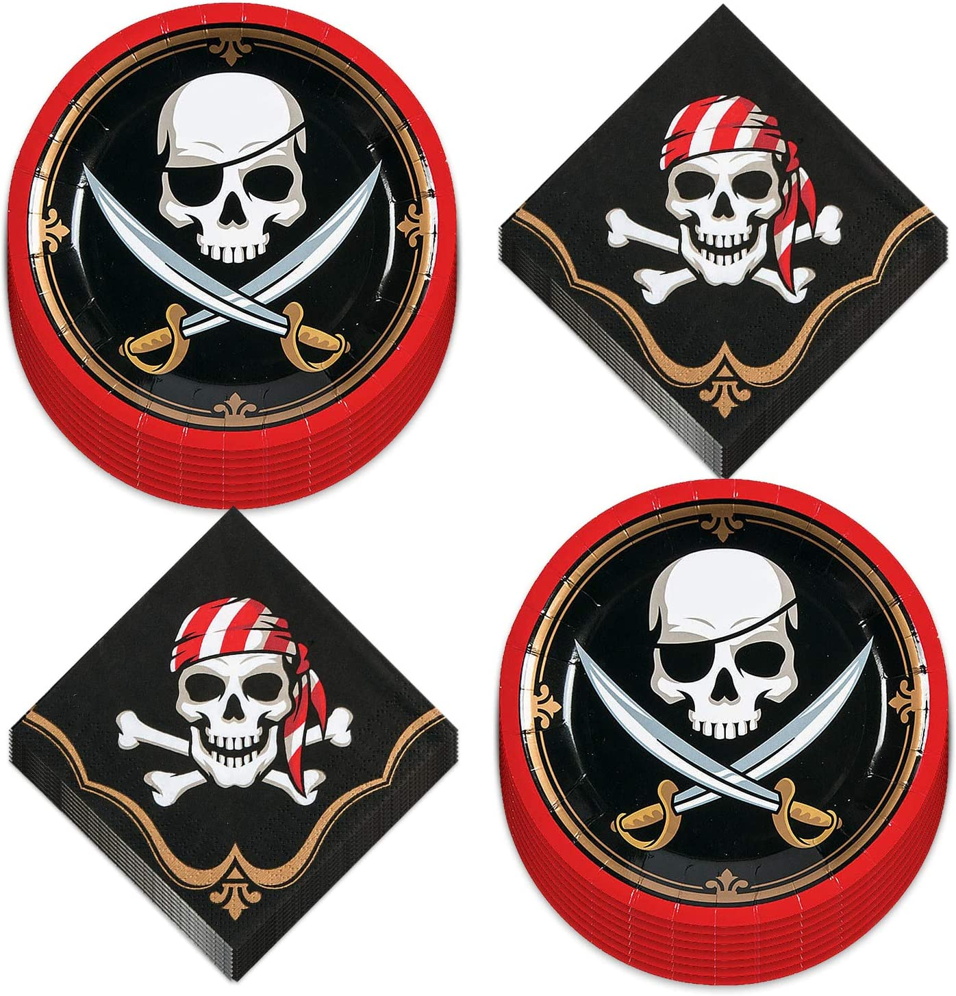 Pirate Party Supplies and Table Decorations (Skull and Sword Paper Dessert Plates and Beverage Napkins (Serves 16))