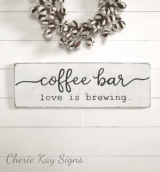 Amazon.com: Letrero de café, barra de café, madera, cartel ...
