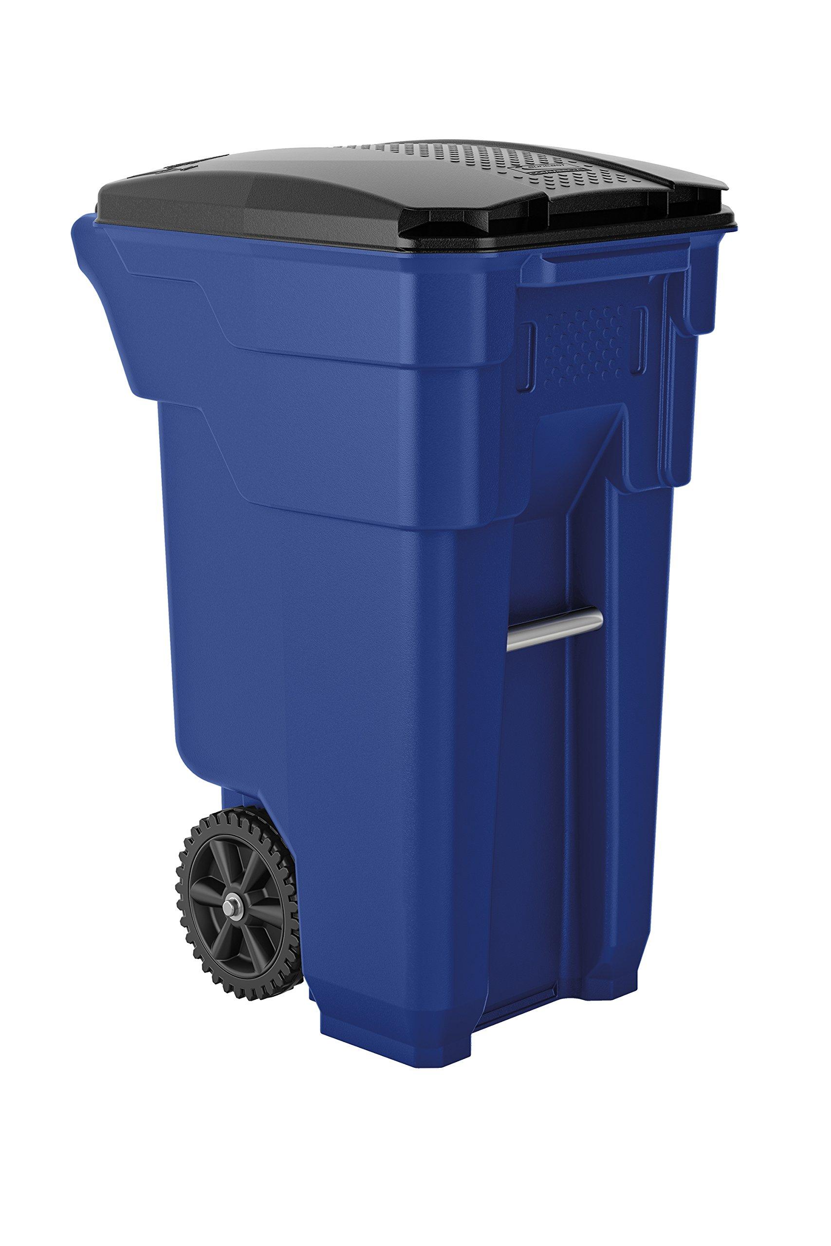 Suncast Commercial BMTCW32BL Wheeled Trash Can, 36.5'' Height, 20.25'' Width, 26.5'' Length, 32 gal Capacity, Polyethylene, Blue