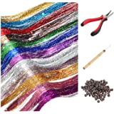 Hair Tinsel Strands Kit, Tinsel Hair Extensions, Fairy Hair Tinsel Kit for Women Girls with Tools (12 Colors+Dark Brown…