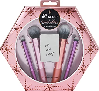 Real Techniques Juego de brochas de maquillaje de dimensiones metálicas con 4 pinceles de edición limitada 2019: Amazon.es: Belleza