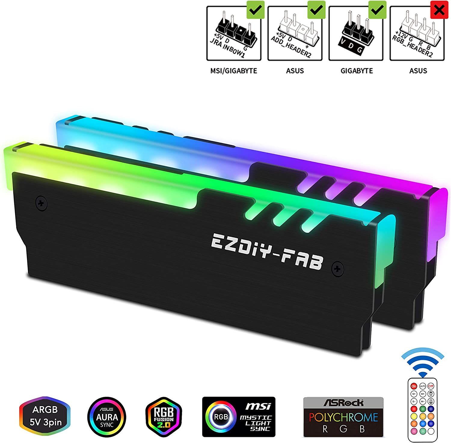EZDIY-FAB RGB Addressable Memory RAM Cooler DDR Heatsink with Controller for DIY PC Game MOD DDR3 DDR4 (Compatible with ASUS Aura Sync,GIGABYTE RGB Fusion and MSI Mystic Light Sync)-Black-2 Pack