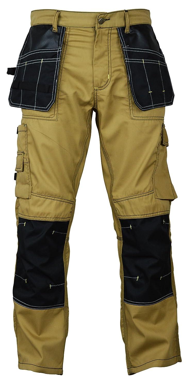 FASHIO FF Mens Construction Cordura Knee Reinforcement Workwear Trousers Utility Work Pant