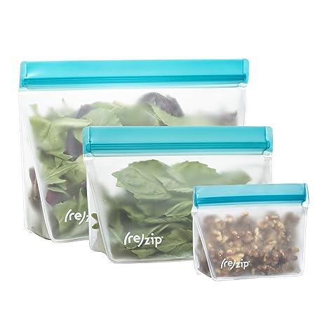 6d57269d83a Amazon.com: rezip 3-Piece Stand-Up Leakproof Reusable Storage Bag Kit 8 /16/32-ounce (Aqua): Kitchen & Dining