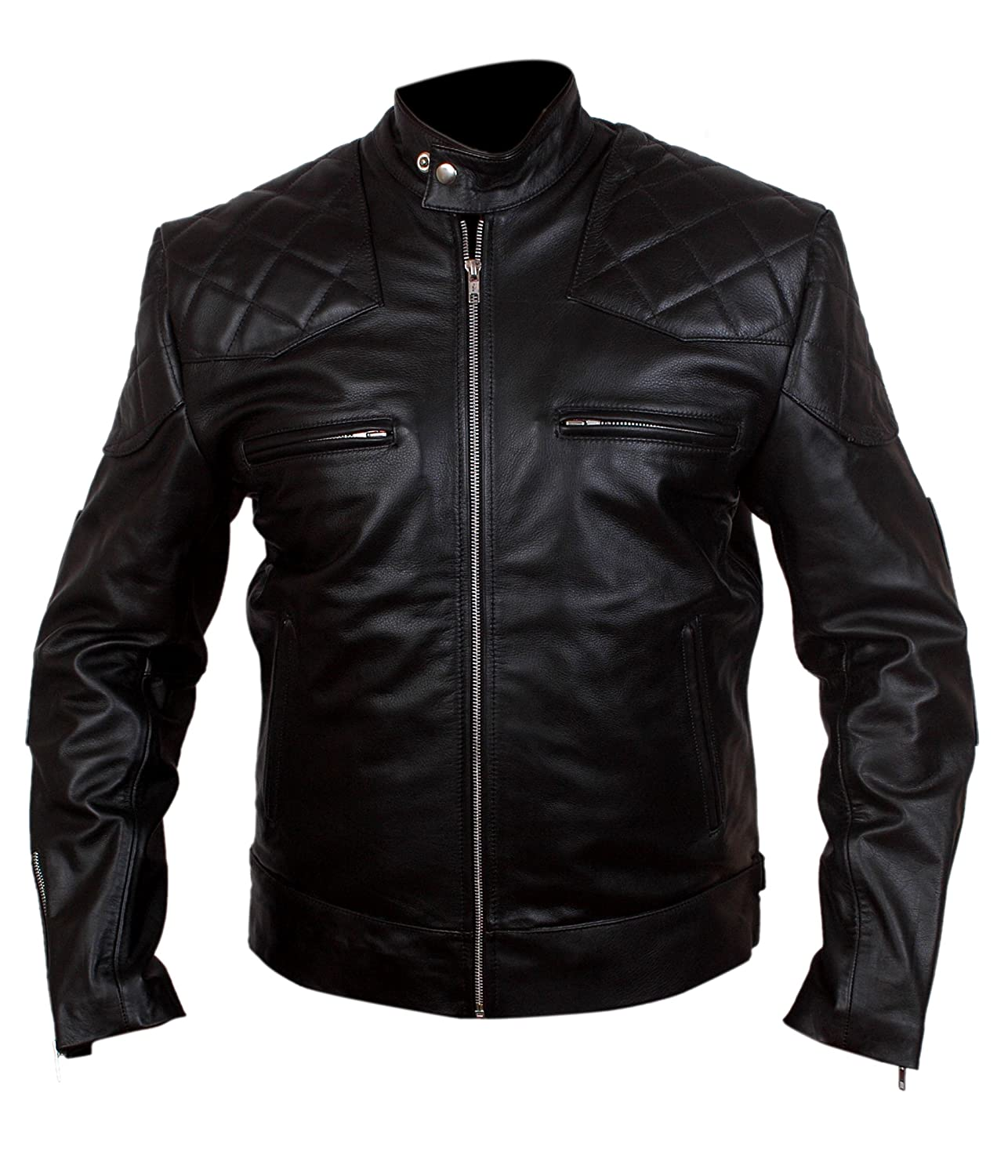 David Beckham Real Leather Black Jacket d-beck-p