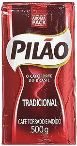 Pilao Roasted & Ground Coffee - 17.6 Oz - Café Pilão Torrado E Moído - 500g