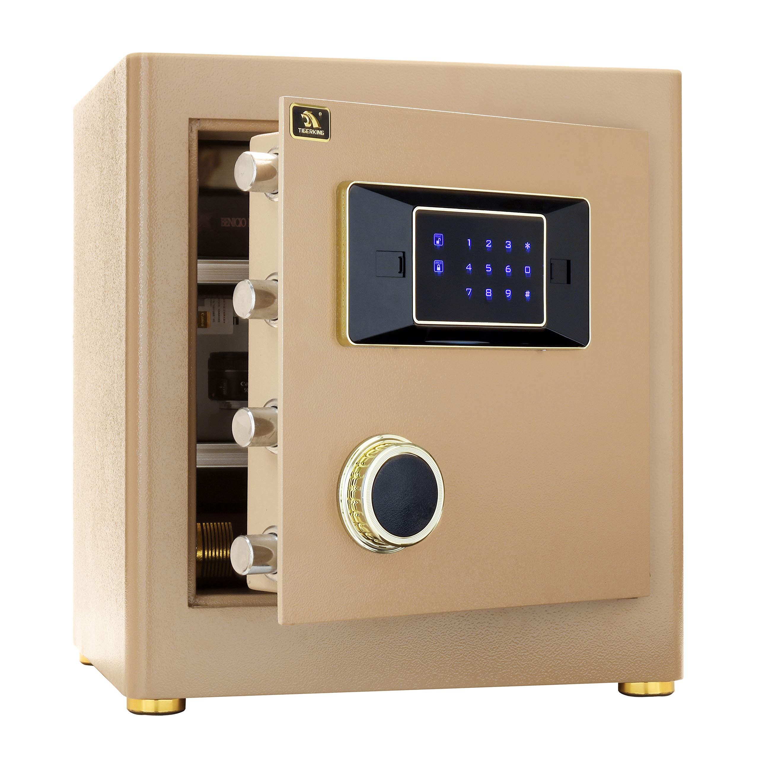 Digital Security Safe Box for Home Office Double Safety Key Lock and Password 1.4 Cubic Feet by TIGERKING by TIGERKING