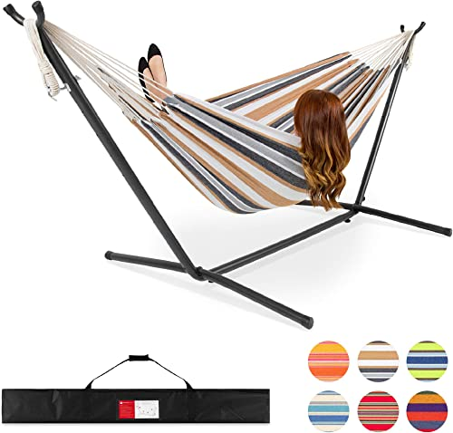 Double Hammock With Steel Stand Includes Portable Carrying Case