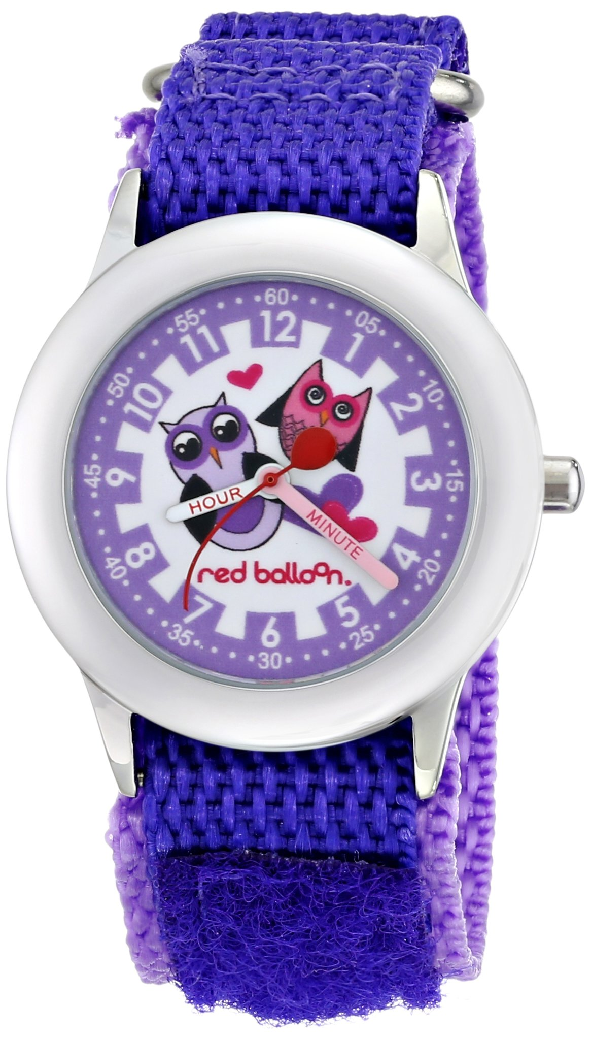 Red Balloon Kids' W000334''Love Owl Time Teacher'' Stainless Steel Watch with Purple Nylon Band