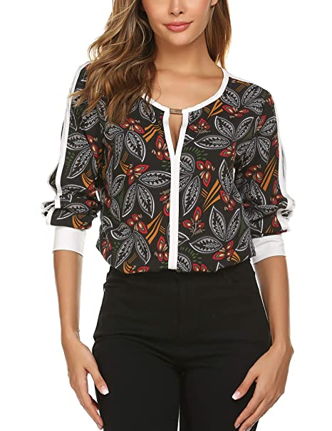 02d55a904596 ACEVOG Women Cut Out Slit Long Sleeve Round Collar Contrast Color ...