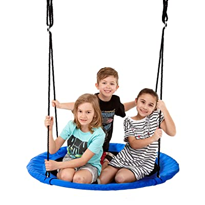 Smartsome Flying Saucer Tree Swing - 40 Inch Redesigned Tire Swing for Hours of Outdoor Fun, Patented Quick and Easy Assembly, Great Kids Swing for Trees Or Playsets. (Blue): Toys & Games