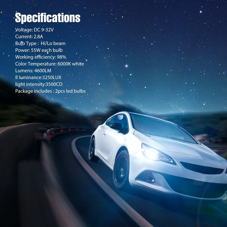DBTech 55W 4600LM COB LED Auto Front Light Fog Bulb White 6000K Headlamp Replace Xenon Lig Hit Kit Car LED Headlight Bulbs,H7 Clear Arc-Beam Kit