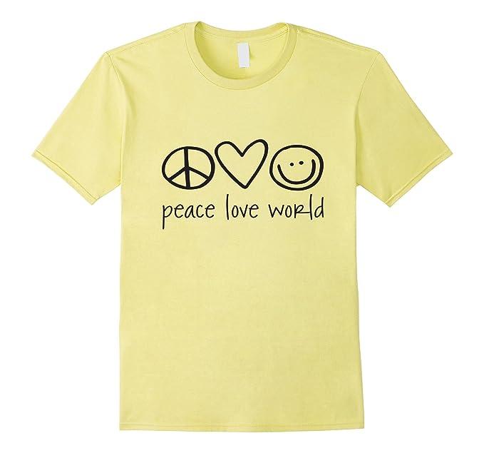 Mens Peace Love World T Shirt Xl Lemon