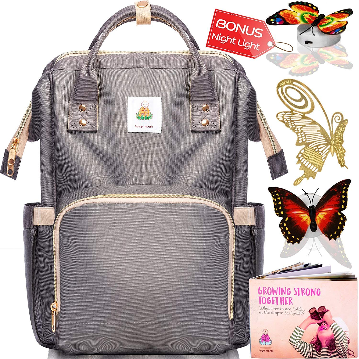 Diaper Bag Backpack - Baby Bags for Mom, Girls & Boys | 2018 Women Organizer for Boy & Girl Lazy Monk Most Wished for Diaper Bag