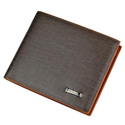 c171c15b5f90 Rbenxia Stylish Brown Billfold Coffee Leather Wallet Credit Card Men Purse  Clutch Bifold PU Leather Wallet with Card Slots and ID Window Slot Gifts ...