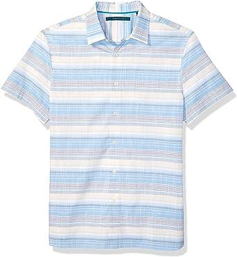 Perry Ellis Mens Multi-Color Horizontal Stripe Shirt: Amazon ...