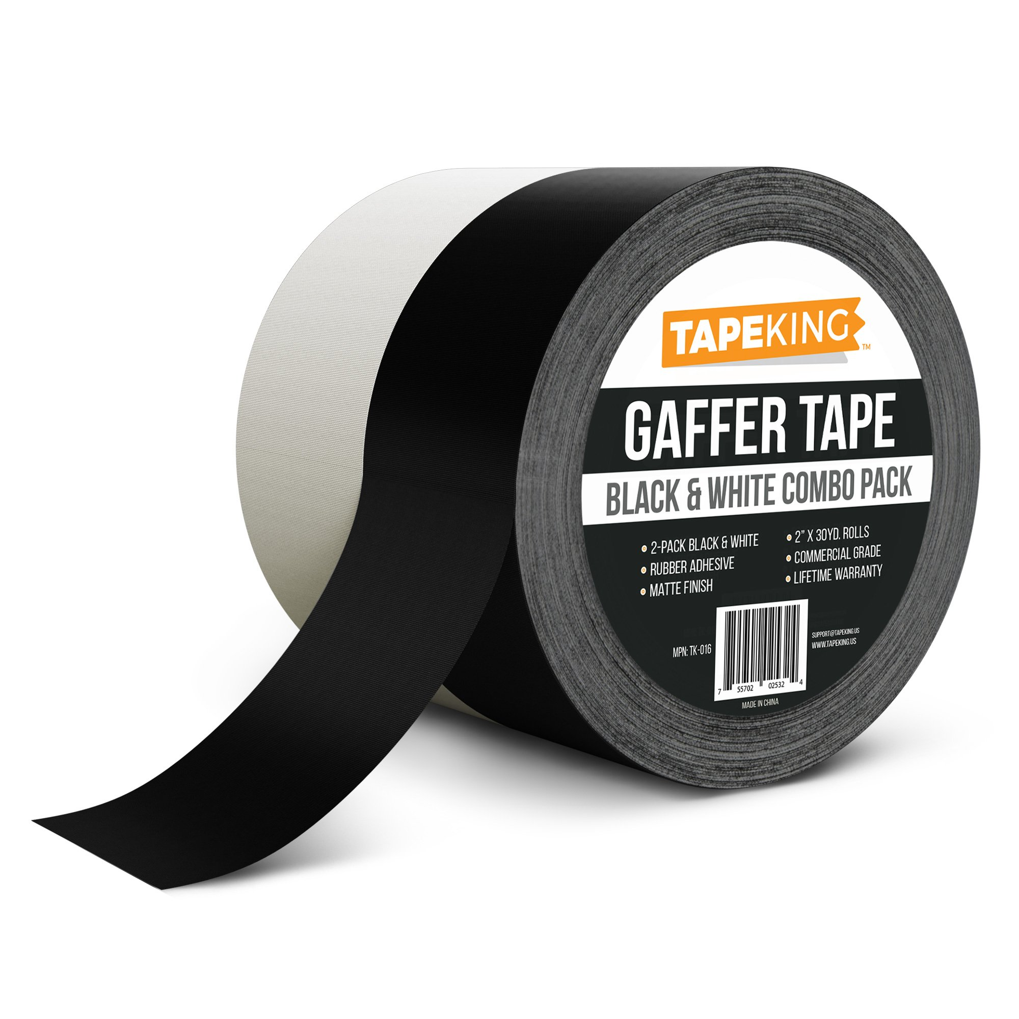 Tape King Gaffers Tape (2-Pack) Premium Professional Grade, 2 Inch X 30 Yards each (Black & White Combo Gaffer Pack)