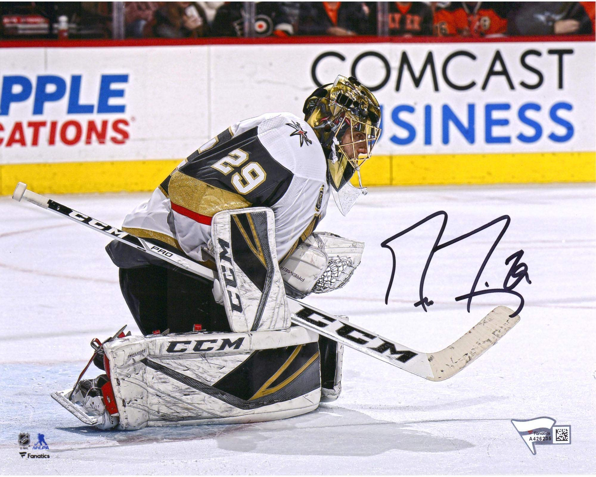 """Marc Andre Fleury Vegas Golden Knights Autographed 8"""" x 10"""" 400 Wins Game Photograph Fanatics Authentic Certified"""