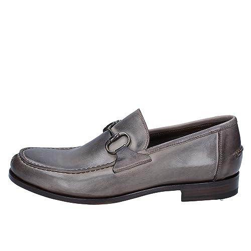 CALPIERRE Mocasines Hombre Cuero Gris 45 EU: Amazon.es: Zapatos y complementos