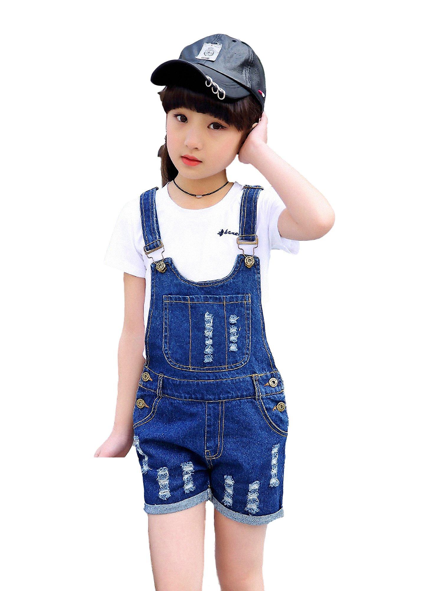 Kidscool Girls Classic Big Bib Ripped Holes Jeans Shortalls,Blue,10-11 Years