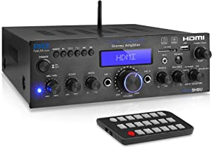 Pyle Compact Wireless Bluetooth Stereo Amplifier - Optical/Phono/Coaxial/FM Radio/Microphones/USB & SD Memory Card Readers, HDMI Inputs/Outputs with Digital LCD Display (200 Watt)