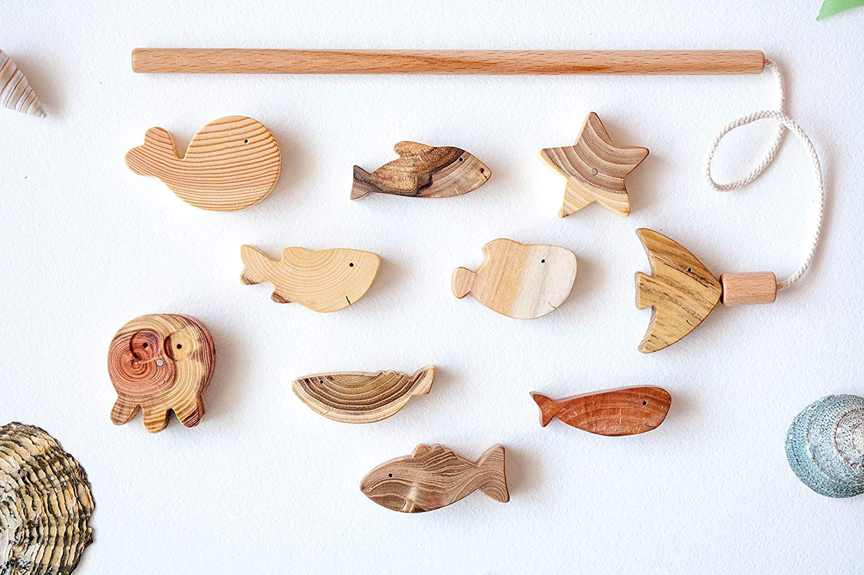 Montessori Toddler Pretend Play Fishing Set set of 7 fishes Wood Fishing Set Baby Gift Set Fishing Game Baby Toy Set