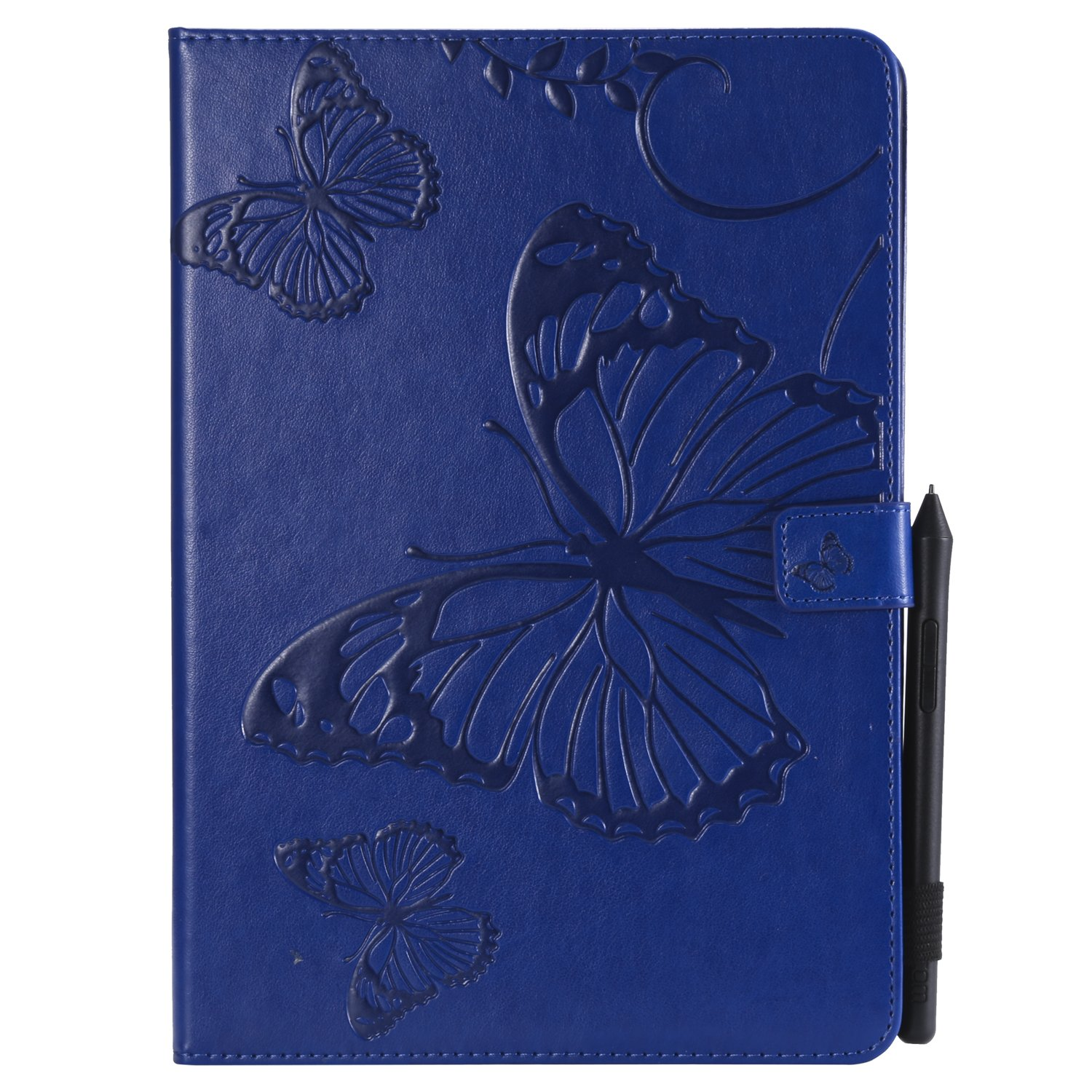 Bear Village iPad Pro 10.5 Inch Case, Butterfly Embossed Anti Scratch Shell with Adjust Stand, Smart Stand PU Leather Case for Apple iPad Pro 10.5 Inch, Blue by Bear Village