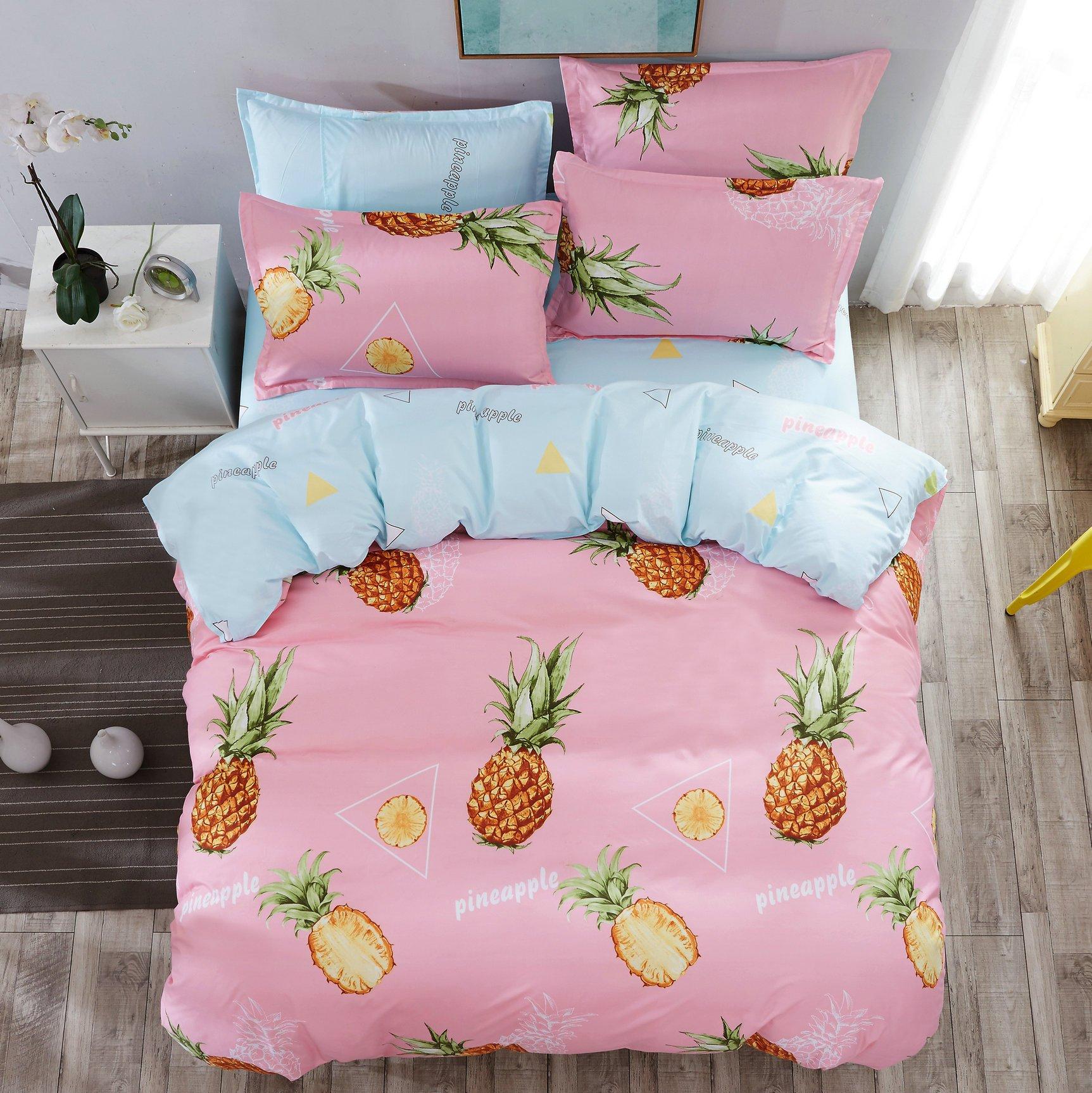 4pcs Children Beddingset Duvet Cover Set One Duvet Cover No Comforter One Flatsheet Two Pillowcase For Bedroom Twin Full Queen Crazy Pineapple Design (Queen, 78''x90'', Pineapple, Pink)