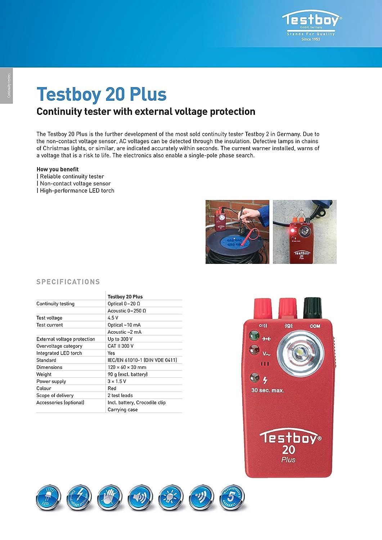 Testboy TB 20 Plus Detector de Continuidad: Amazon.es: Industria, empresas y ciencia