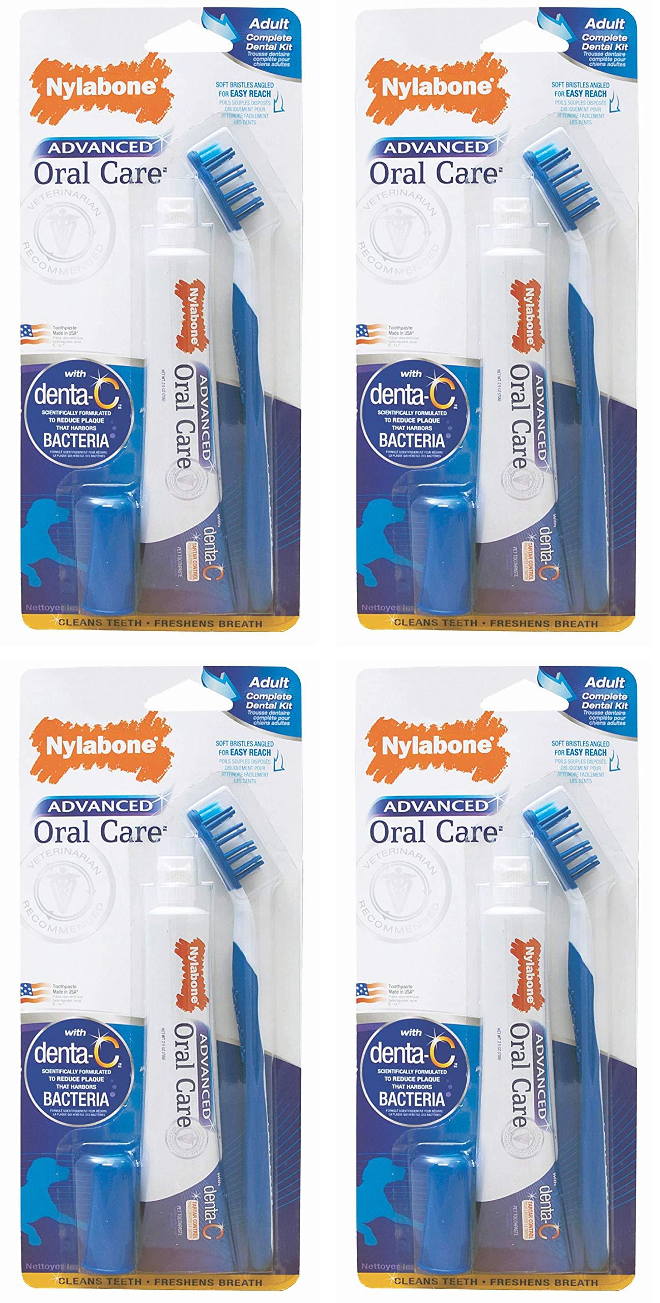 Nylabone Advanced Oral Care Dog Dental Kit, 4 Pack, for Regular Adult Dog Tooth Brushing by Nylabone