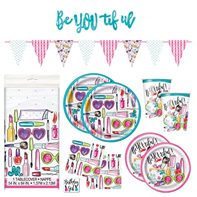 SPA Girls Makeup Birthday Party Supplies Pack - Dinner Plates, Cake Plates, Napkins, Cups (Deluxe - Serves 16): Toys & Games [5Bkhe1902231]
