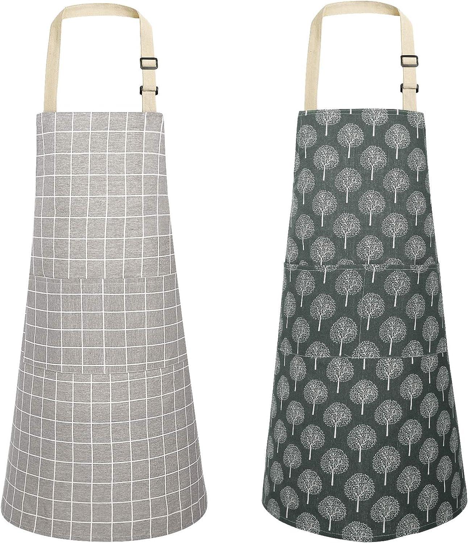 JOYPEA Cotton Linen Cooking Apron Waterproof Adjustable 2 Pack Kitchen Aprons for Men Women
