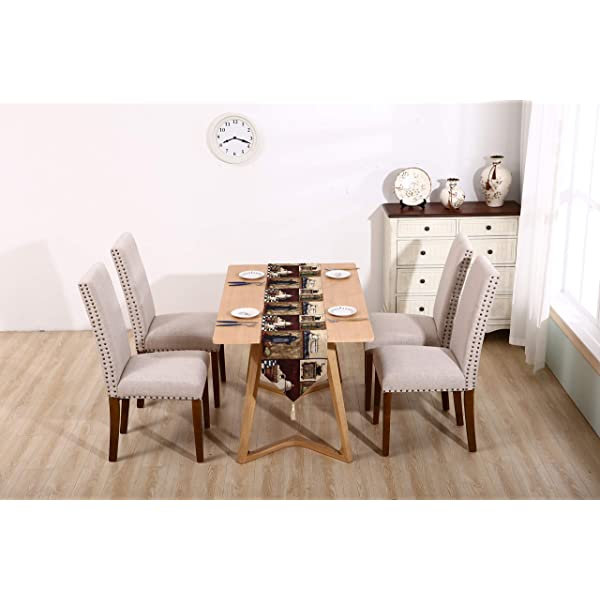 Merax PP036415 Fabric Upholstered Dining Chairs Set of 2 with Copper Nails and Solid Wood Legs (Beige)