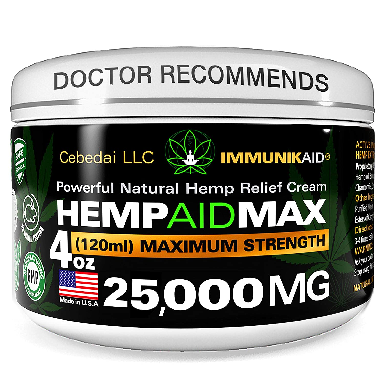 Premium 25000Mg Hemp Cream for Pain Relief - 4oz Pure Hemp Oil Extract - Made in USA - Extra Strength Natural Massage Lotion for Joint, Muscle, Knee, Back, Neck Inflammation - Topical Salve Balm